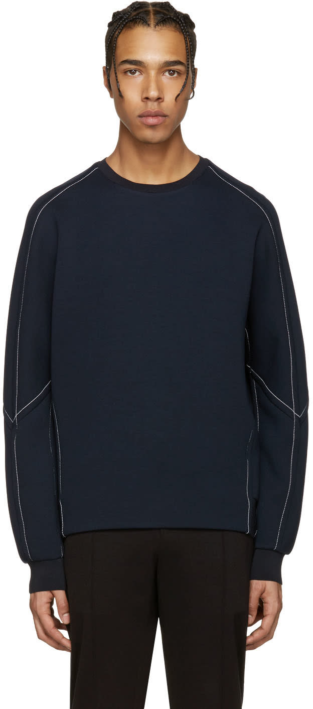Wooyoungmi Navy Neoprene Pullover