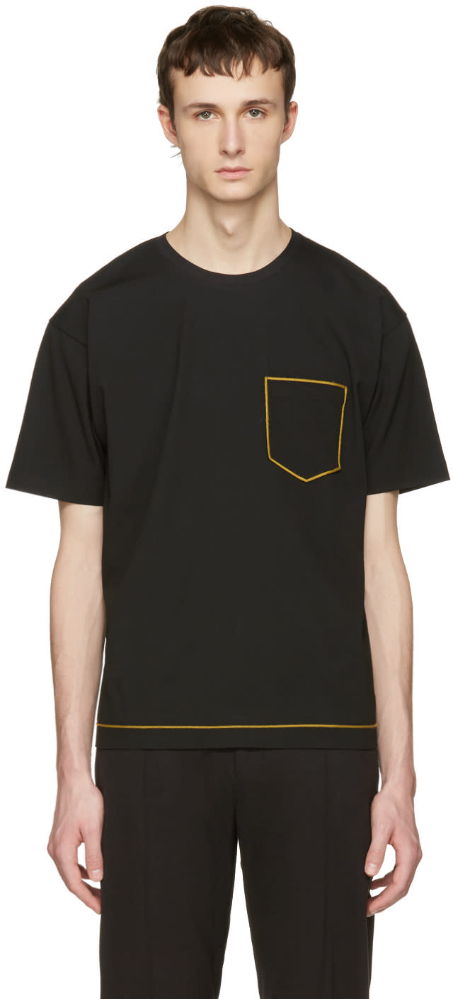 Image of Wooyoungmi Black Contrast Pocket T-shirt