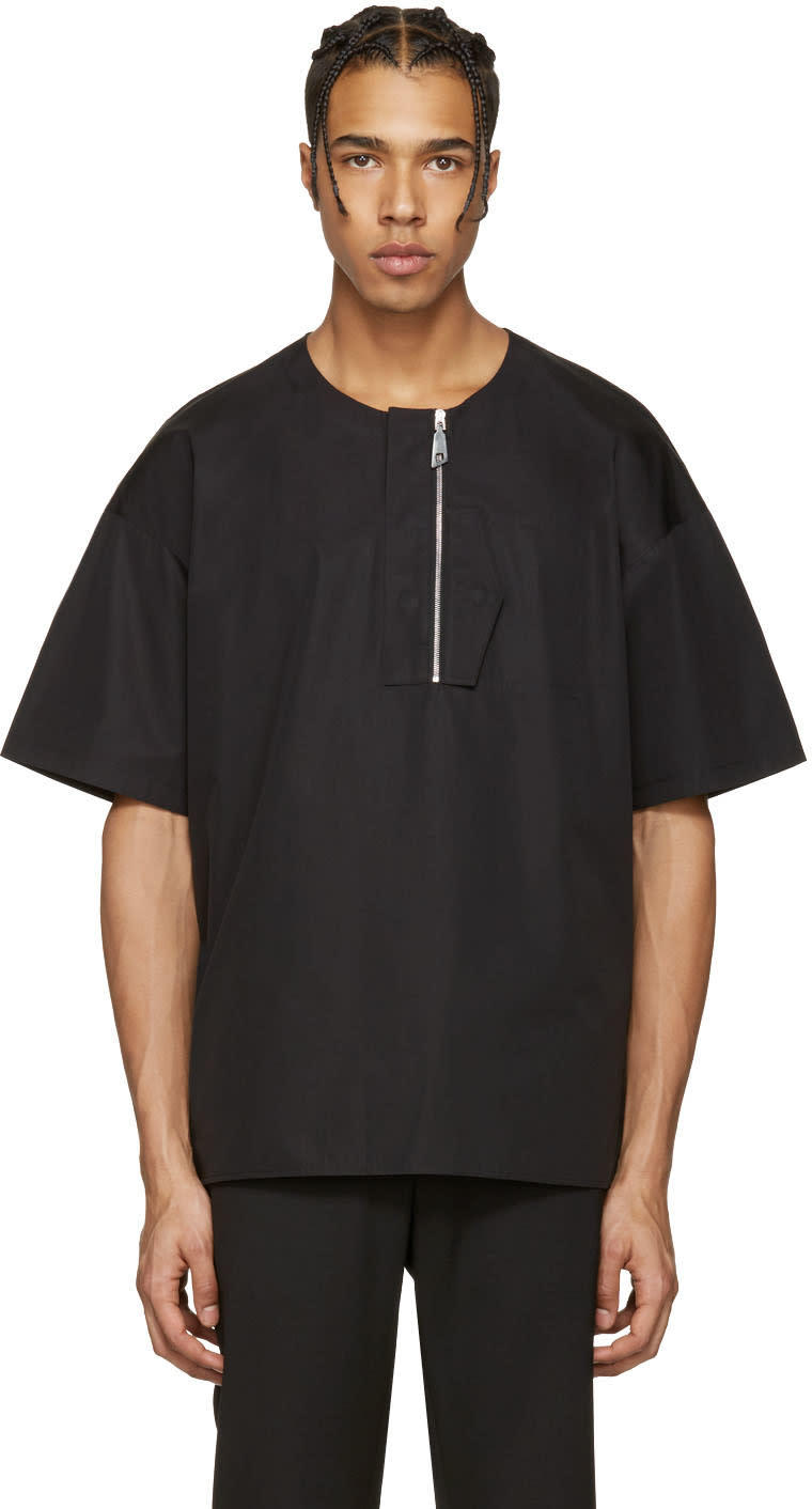 Image of Wooyoungmi Black Front Zip T-shirt