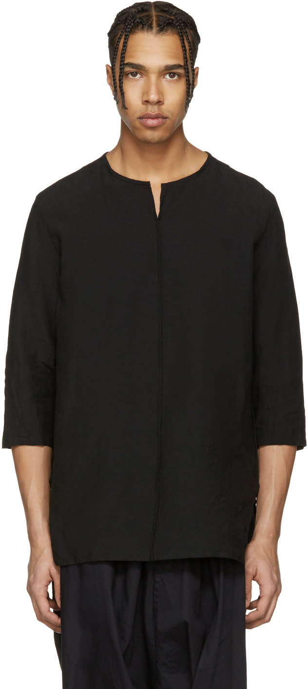 Attachment Black Oversized Linen Shirt