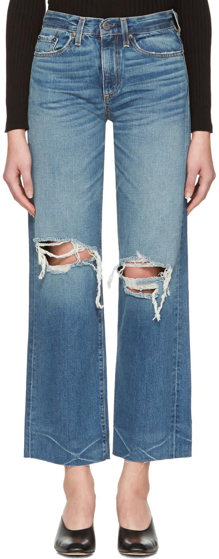 Simon Miller Indigo Basin Cropped Frayed Jeans