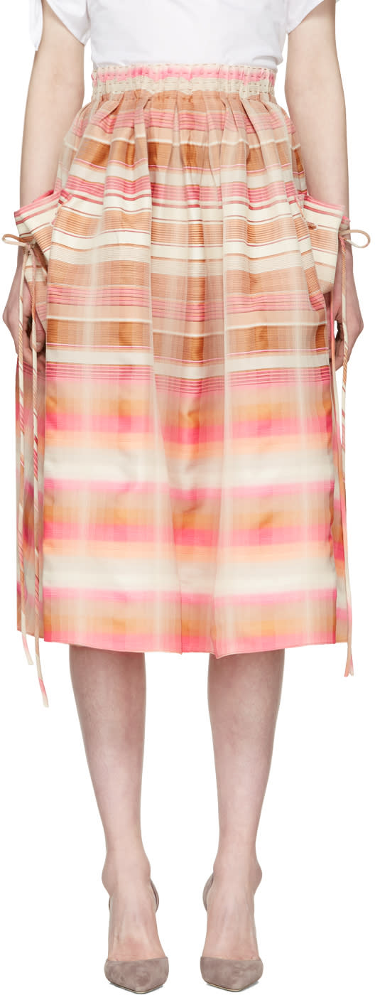 Brock Collection Pink and Beige Stella Skirt