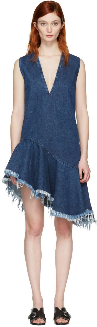 Marques Almeida Blue Denim V-neck Dress