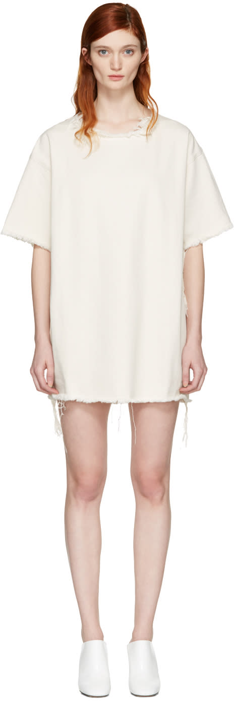 Marques Almeida Off-white Denim T-shirt Dress