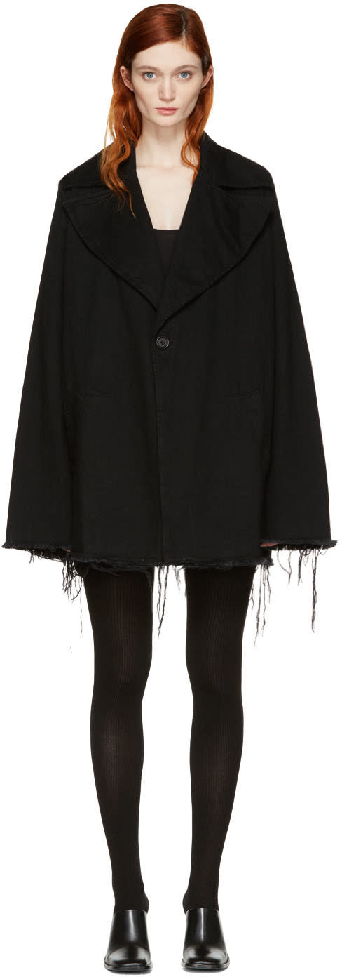 Marques Almeida Black Denim Big Lapel Coat
