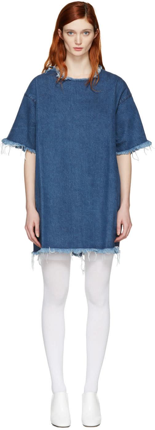 Marques Almeida Blue Denim T-shirt Dress