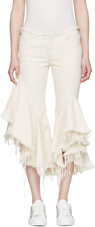 Marques Almeida Off-white Frill Jeans