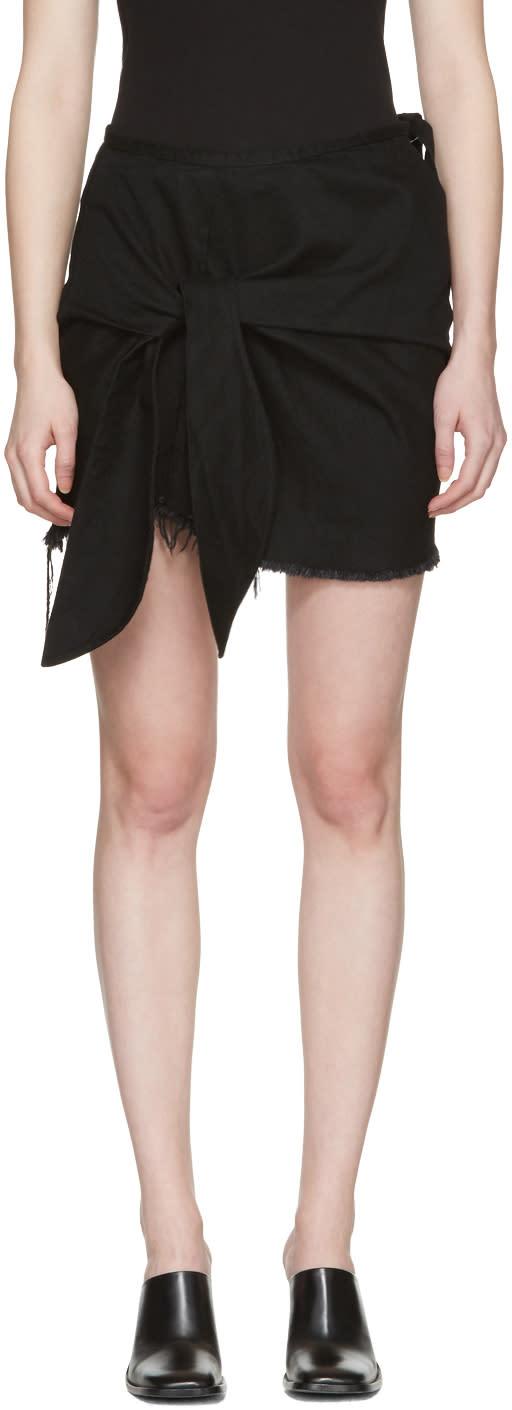 Marques Almeida Black Denim Knotted Miniskirt