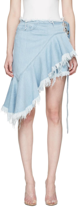 Marques Almeida Blue Denim Belted Wrap Miniskirt