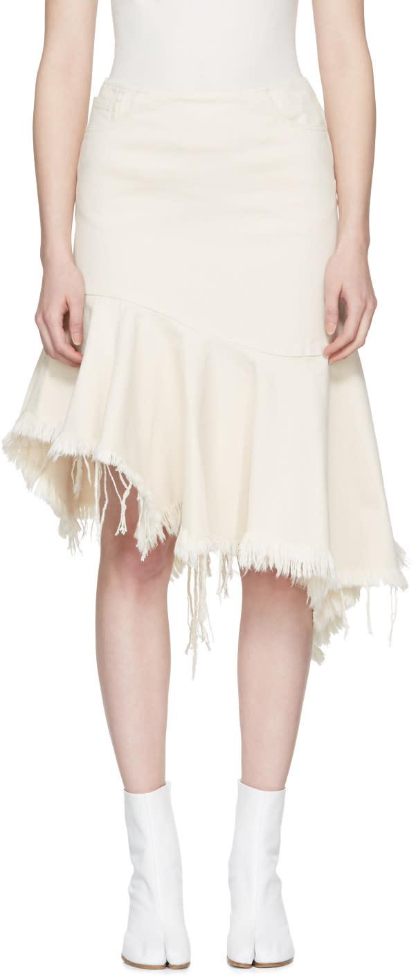 Marques Almeida Off-white Denim Draped Skirt