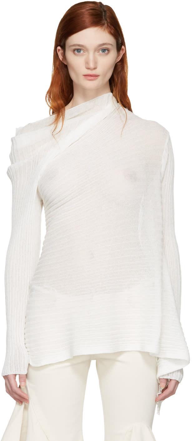Marques Almeida White Ribbed Draped Pullover