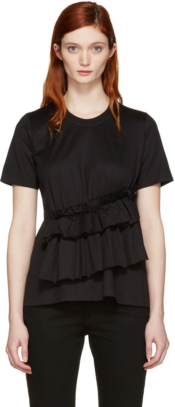 Marques Almeida Black Gathered T-shirt