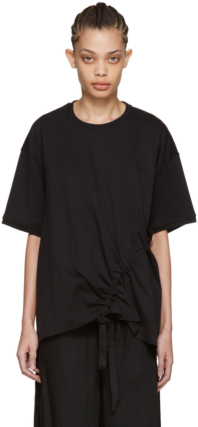Image of Marques Almeida Black Side Cord T-shirt