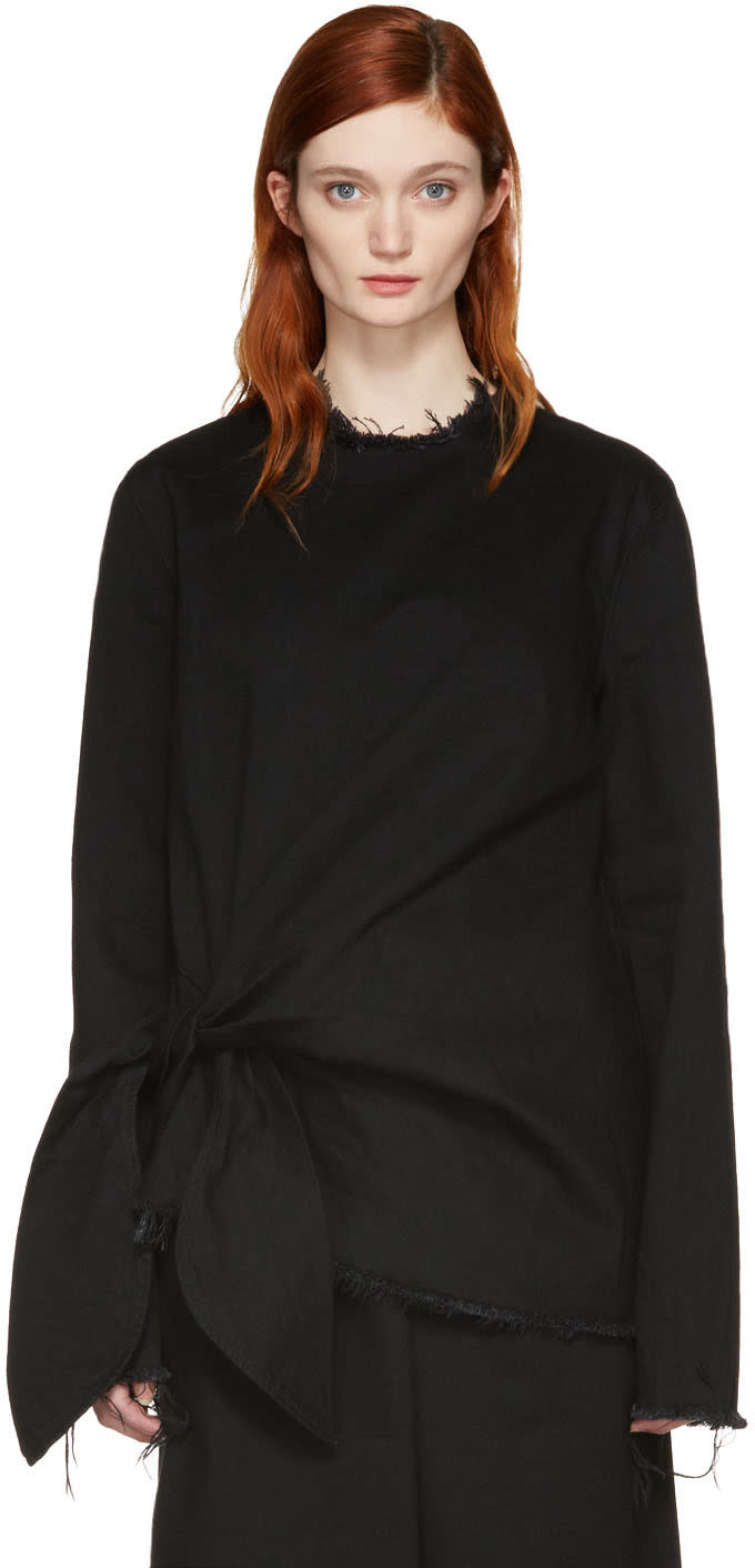 Image of Marques Almeida Black Denim Knot Blouse