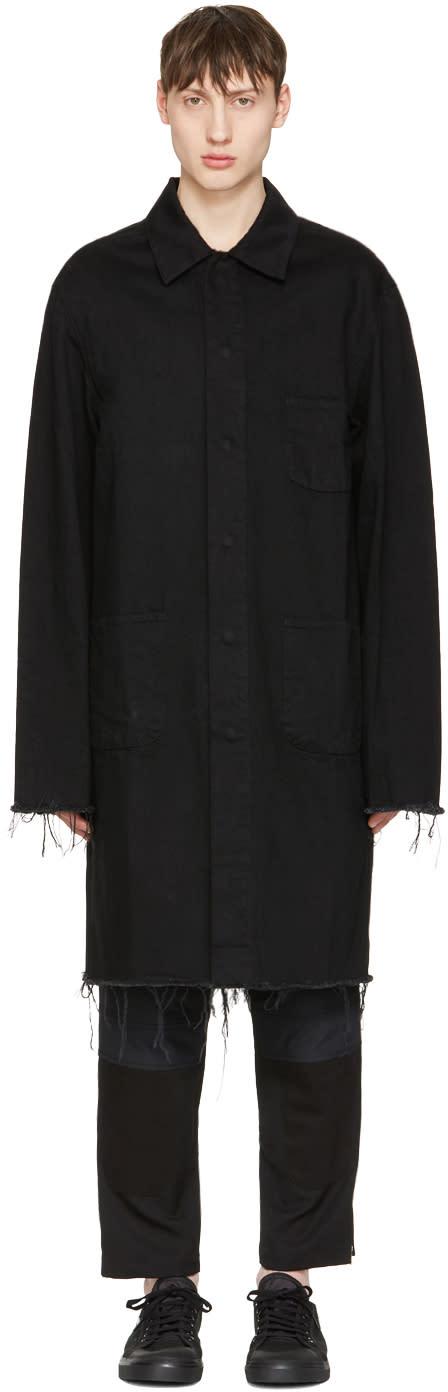 Marques Almeida Black Denim Mackintosh Jacket