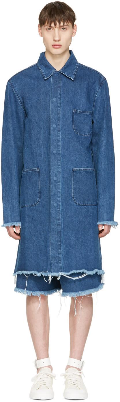 Marques Almeida Blue Denim Mackintosh Jacket