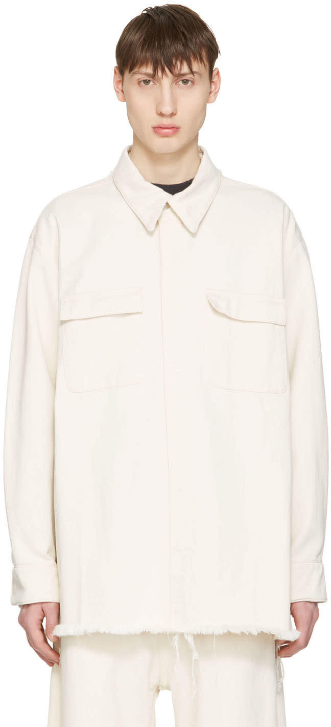 Marques Almeida Off-white Denim Oversized Shirt
