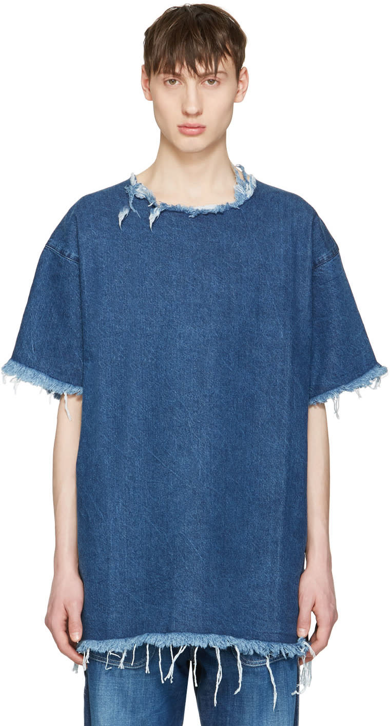 Marques Almeida Blue Denim T-shirt