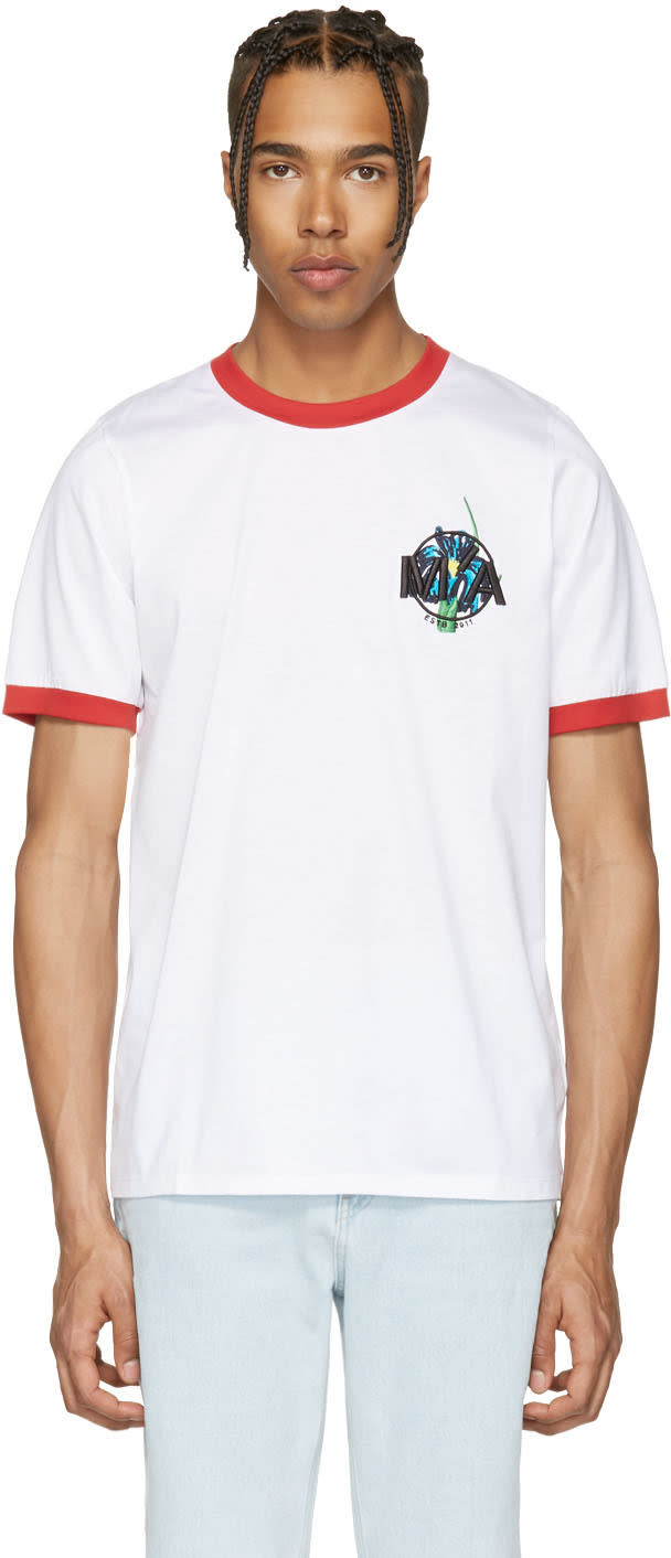 Marques Almeida White Embroidered Loose T-shirt