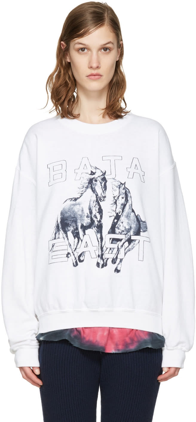 Baja East White Fleece Pullover