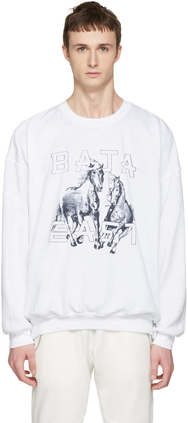 Baja East White Be Sweatshirt