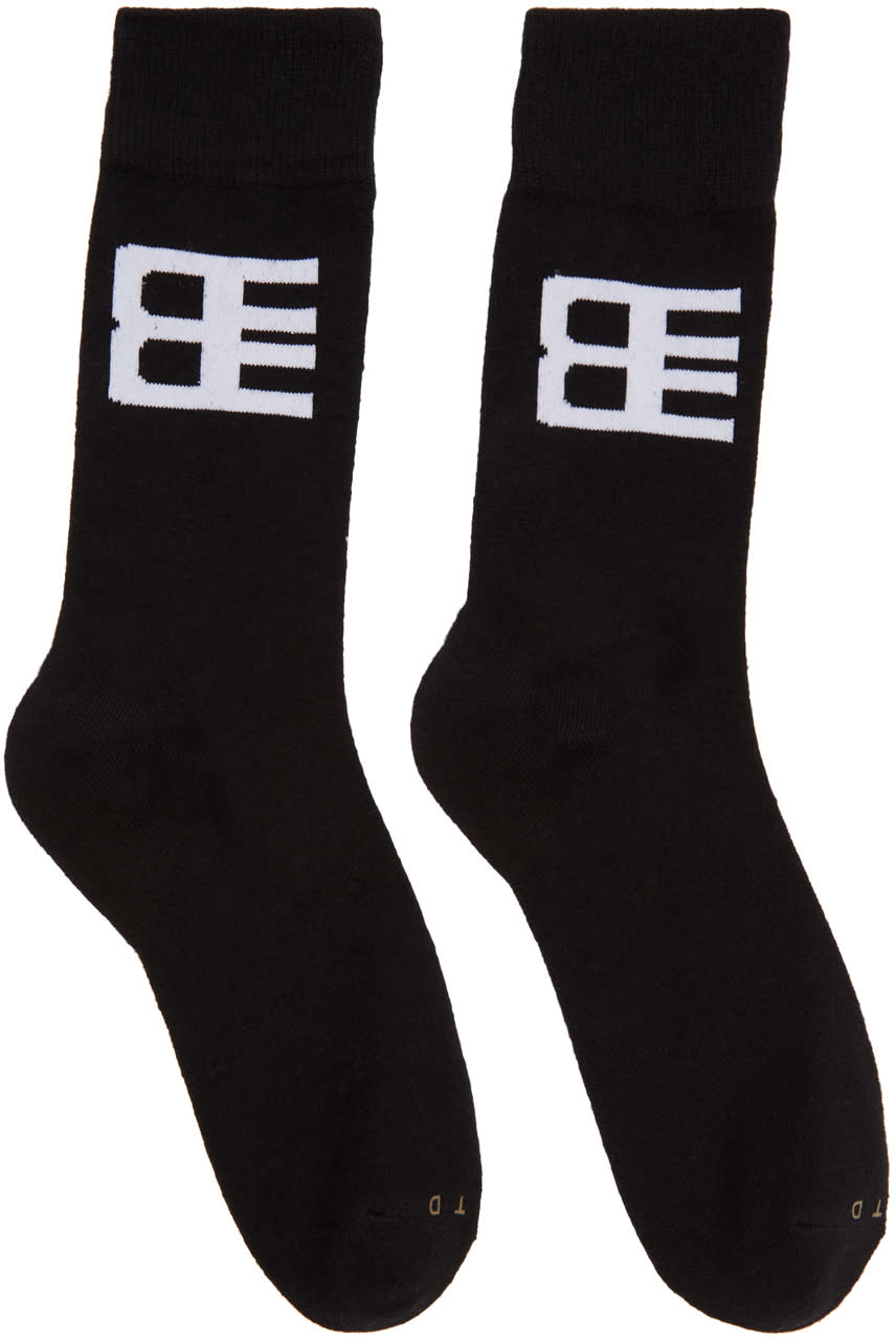 Baja East Three-pack Black Logo Socks