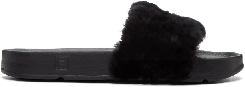 Baja East Black Fila Edition Shearling Drifter Sandals