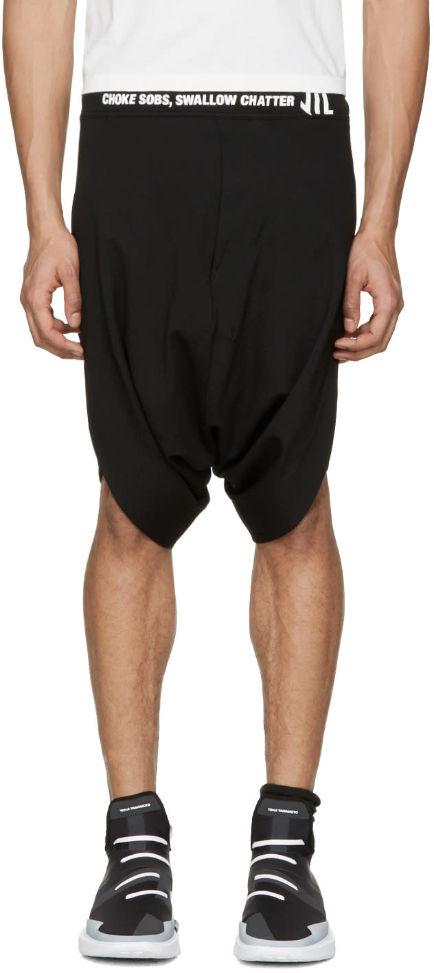 Nilos Black Logo Shorts