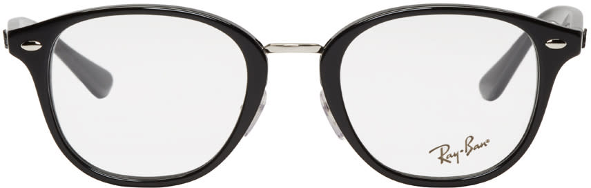 Image of Ray-ban Black Acetate Round Glasses