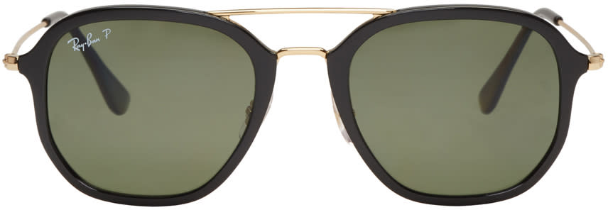 Ray-ban Black and Gold Aviator Sunglasses