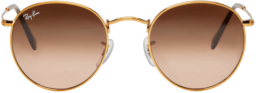 Ray-ban Gold Round Sunglasses