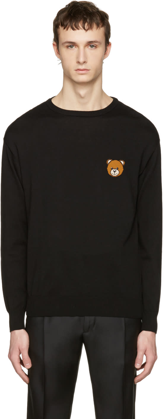 Moschino Black Cotton Bear Pullover