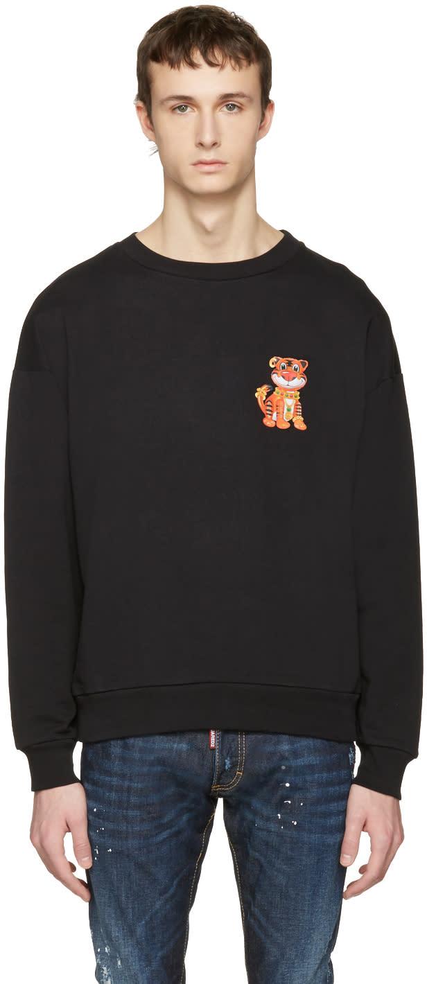 Moschino Black Cotton Tiger Pullover