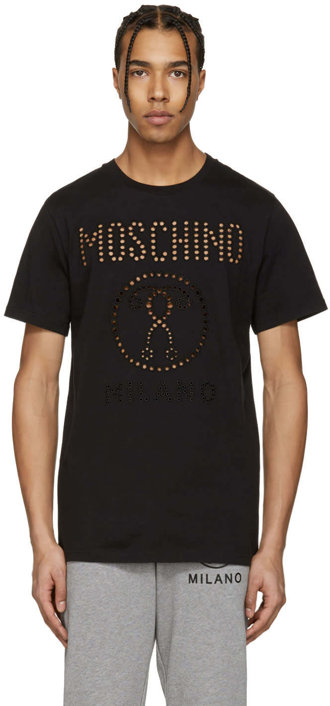 Moschino Black Cut-out Logo T-shirt