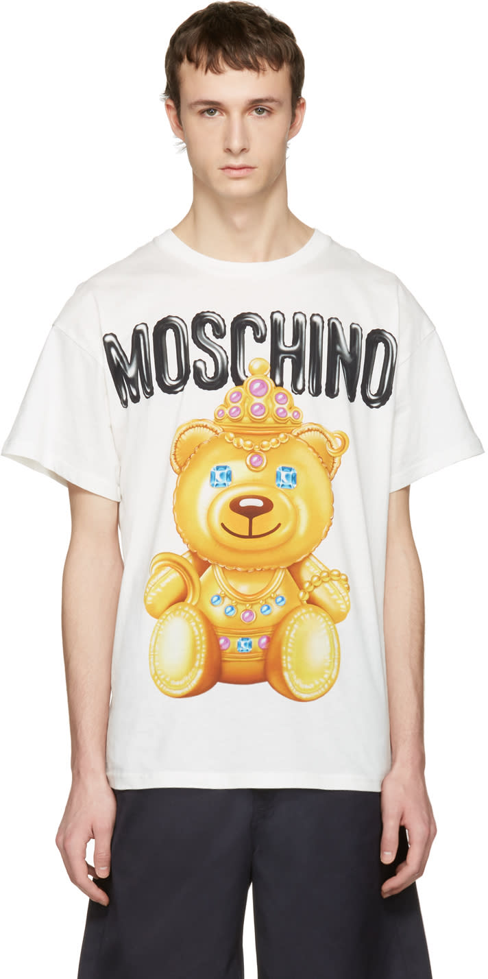 Moschino White Jewel Bear T-shirt