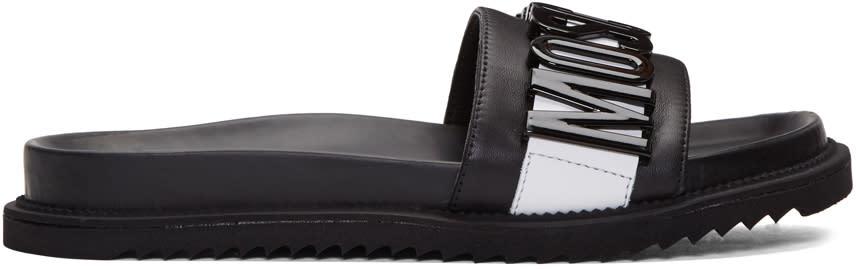 Moschino Black Logo Slide Sandals