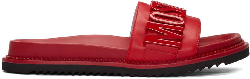 Moschino Red Logo Slide Sandals