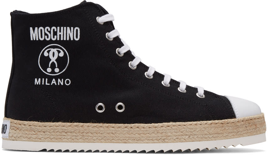 Image of Moschino Black Espadrille High-top Sneakers