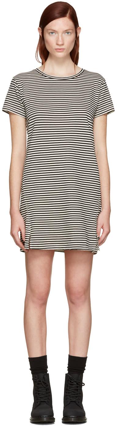Amo Black Striped Short Dress