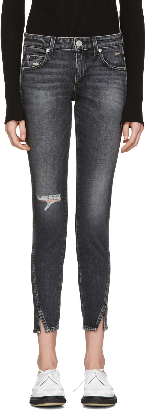 Image of Amo Black Distressed Twist Jeans