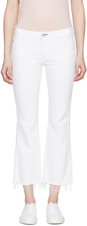 Amo White Kick Crop Jeans