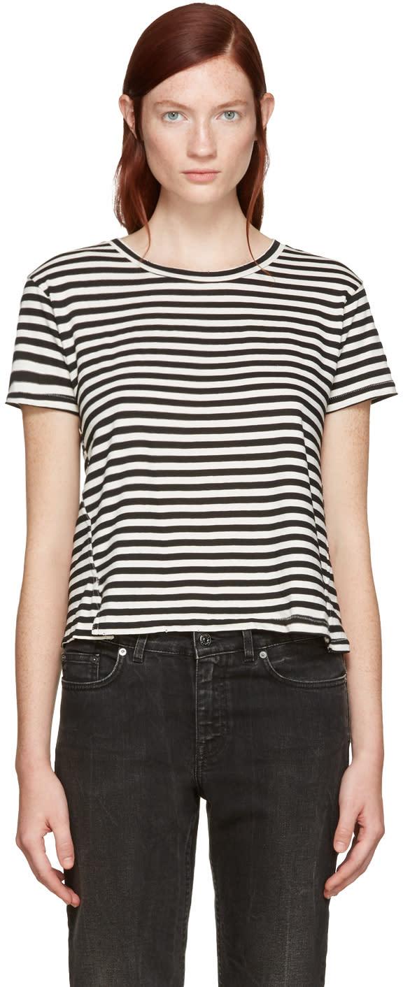 Amo Black Striped Twist Cut-out T-shirt