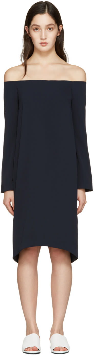 Atea Oceanie Navy Off-the-shoulder Dress