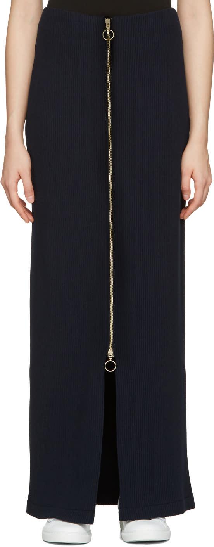Atea Oceanie Navy Long Ribbed Skirt