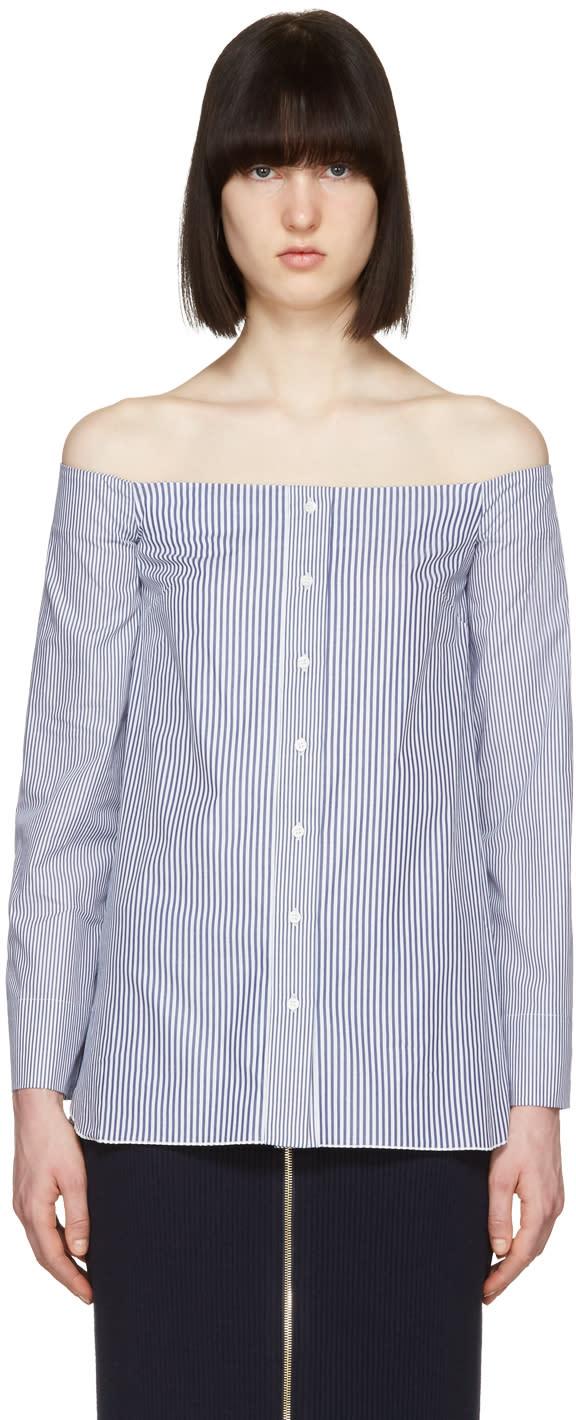 Image of Atea Oceanie Blue Scarlett Off-the-shoulder Shirt