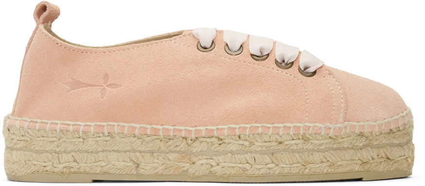 Manebi Pink Suede Hamptons Lace-up Espadrilles
