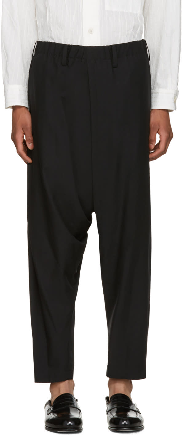 Issey Miyake Men Black Wool Dropped Trousers