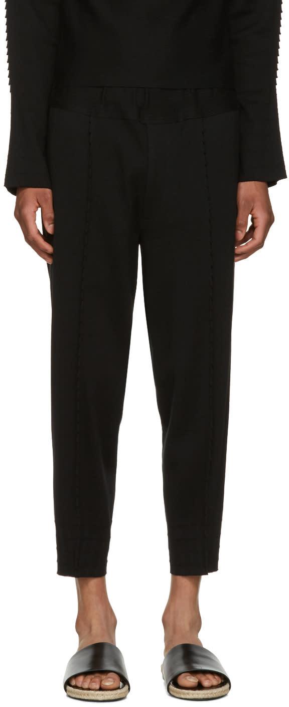 Issey Miyake Men Black Pleated Lounge Pants