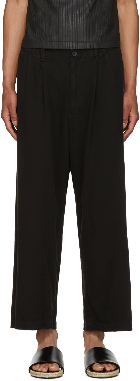 Issey Miyake Men Black Wide-leg Trousers