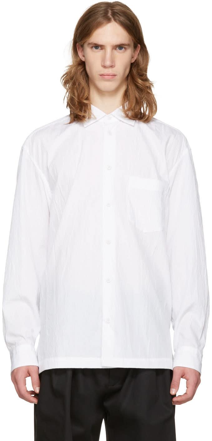 Issey Miyake Men White Wrinkled Classic Shirt